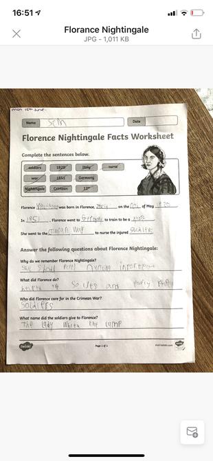 Sam's Florence Nightingale work.