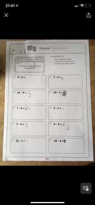 Arthur's maths work.