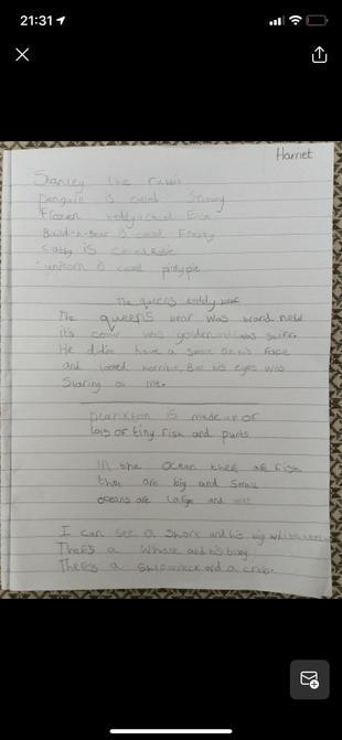 Harriet's writing.