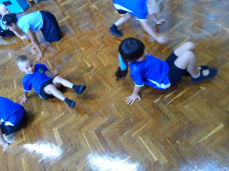 PE is fun with lots of space in the hall now we are doing it half a class at once!