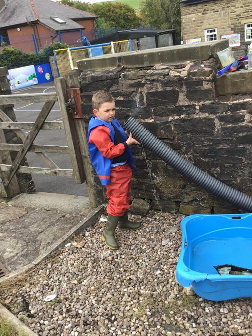 Exploring the water tray.
