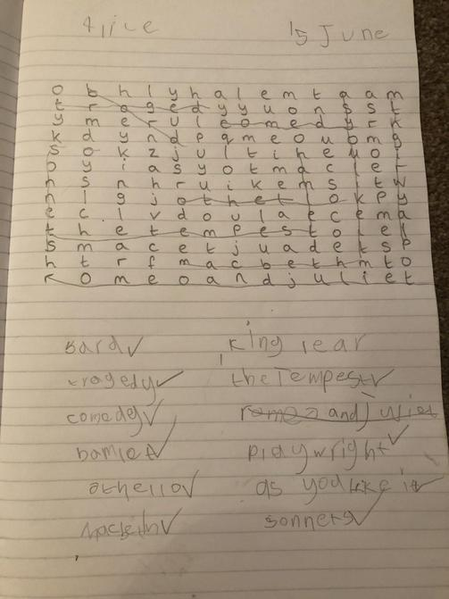 Alice's Shakespeare wordsearch