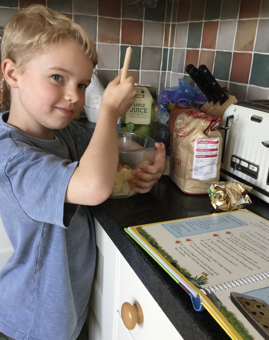 Jack following a recipe