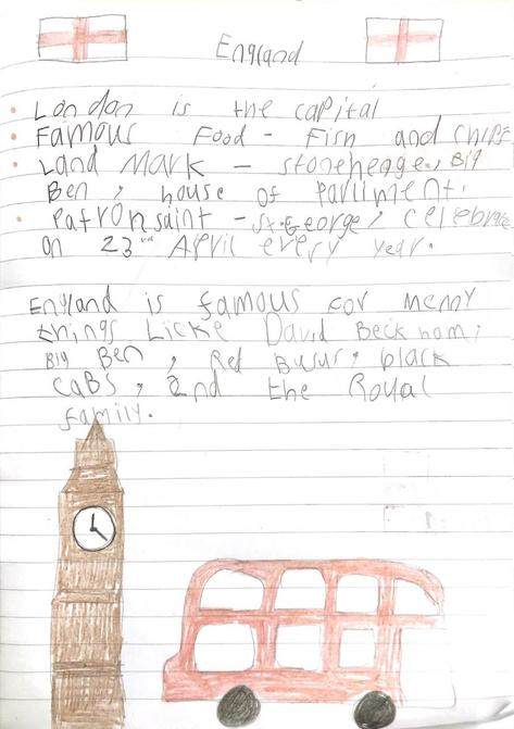 Lottie's research about England for Geography.
