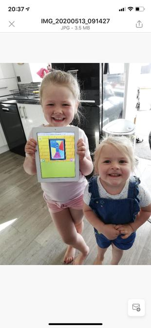 Elsie and her certificate....and sister!