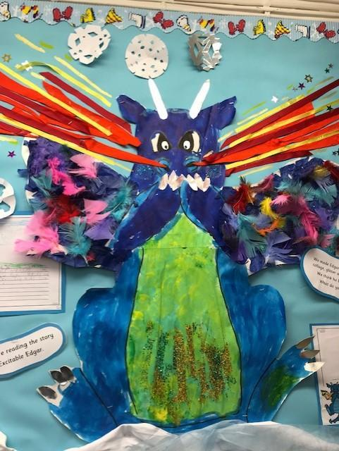 Everyone helped to make our beautiful dragon Edgar with Mrs Ball!