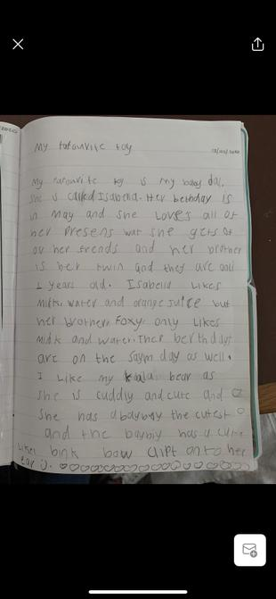 Favourite toy writing from Lottie.