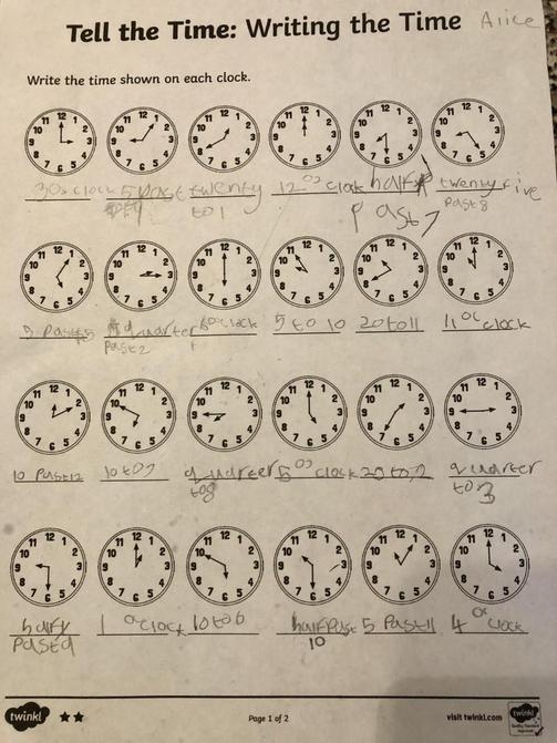 Alice's maths work