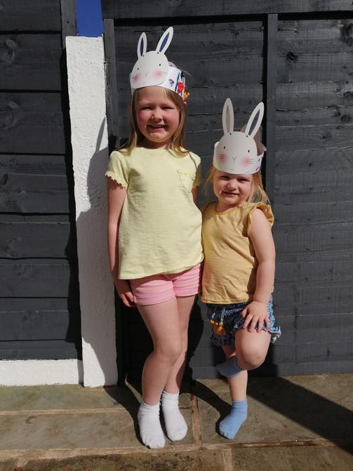 Elsie made an Easter Bonnet!  Looks fab!
