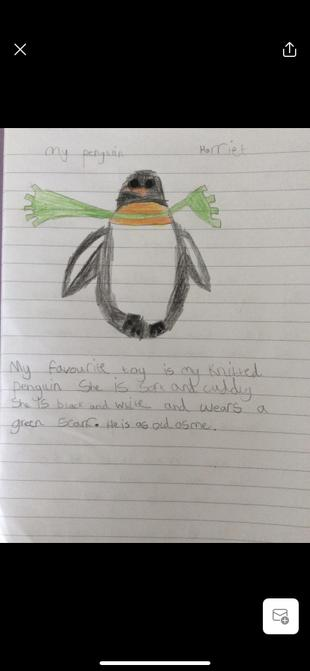 Harriet's toy writing.