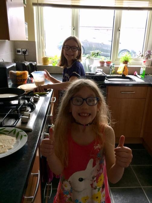 Izzy has started learning to make yummy pancakes!