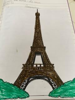 Toby coloured a picture of the Eiffel Tower