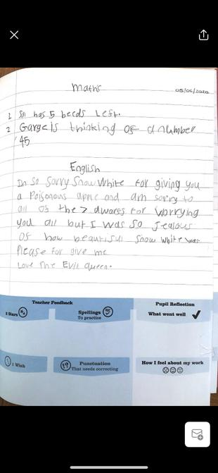 Lottie's Maths and her apology letter.