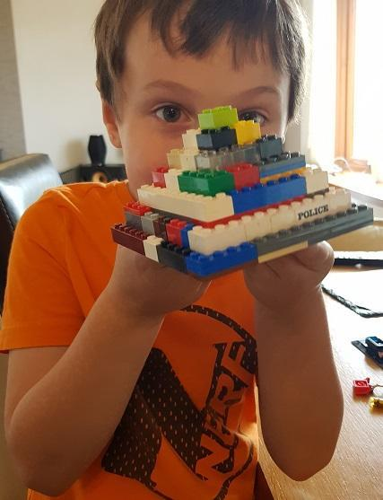 Edward built a pyramid from lego