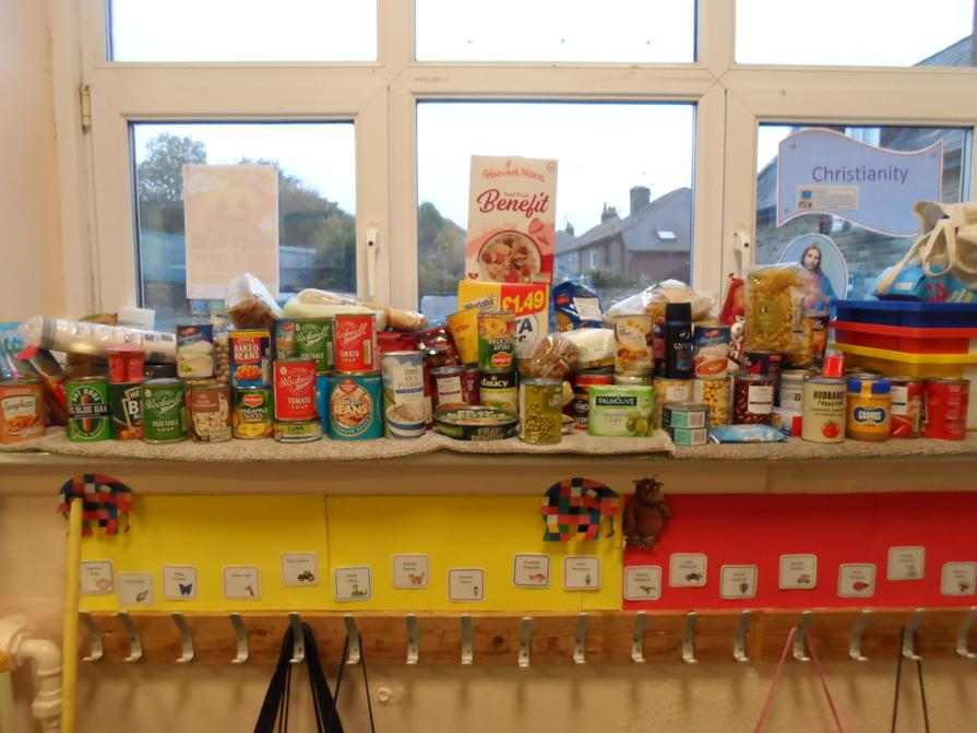 Look at all the food we have donated with Reception class!
