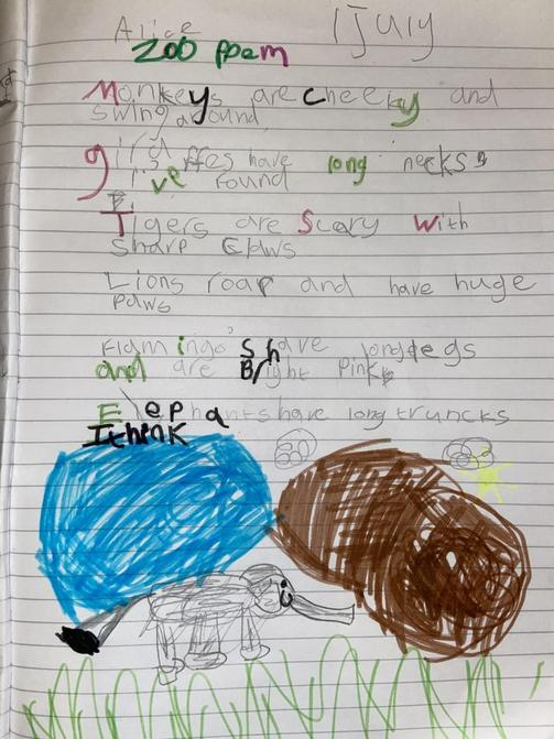 Alice's animal poem; excellent rhyming words!
