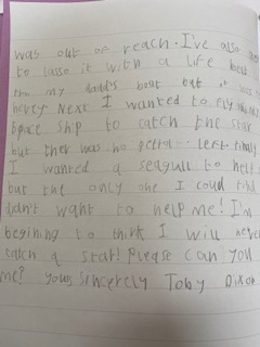 Toby's literacy work continued!