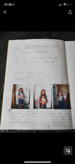 Elsie's word challenge and writing.