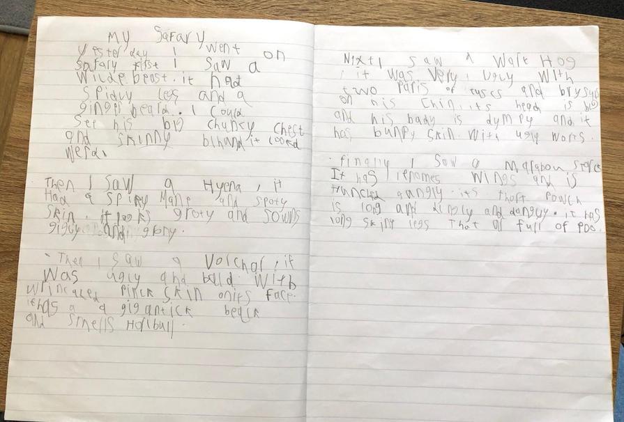 Super writing Sam - good focus!