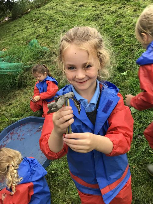Using natural materials for her animal.
