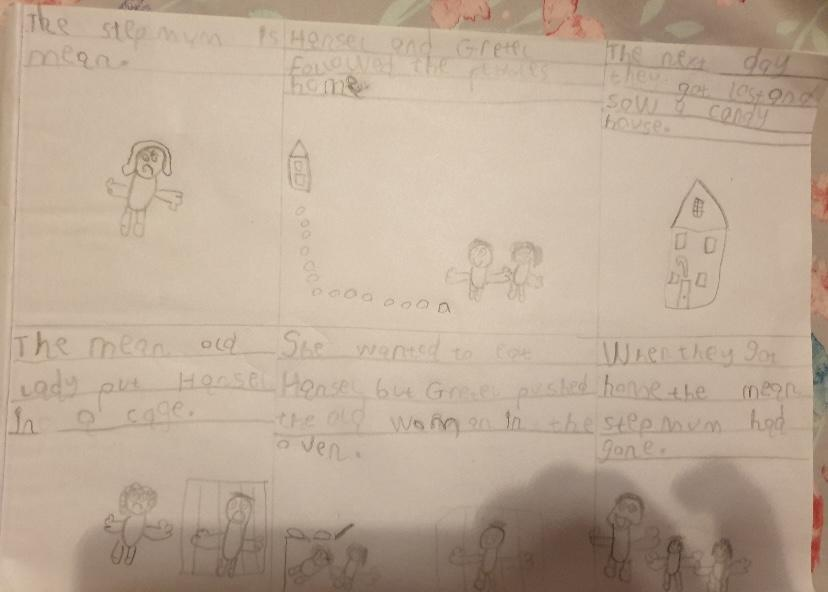 Olivia's storyboard for Hansel and Gretel- super writing and pictures!