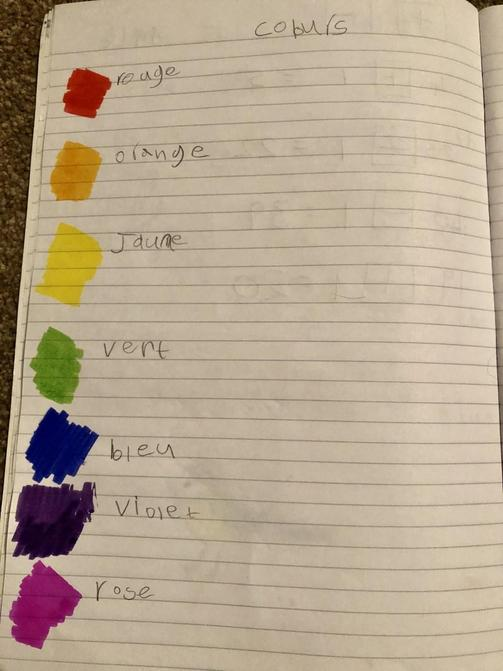 Alice can name colours in French