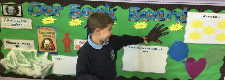 Jack loves our Book Board where we predict and ask questions about our class book.