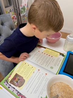 Toby following a recipe