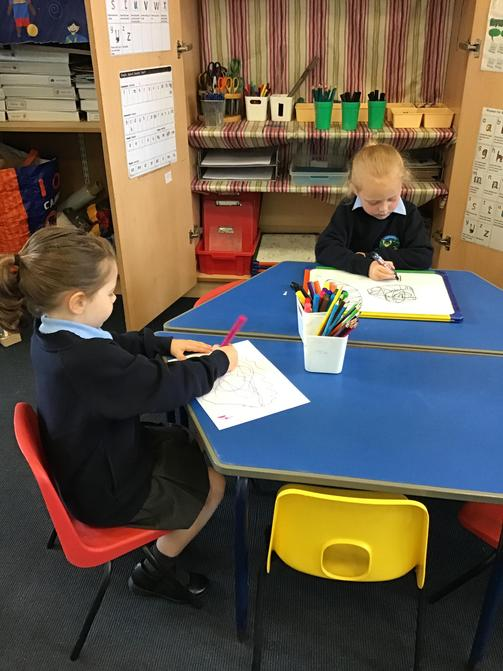 Mark making in our Mark Making area
