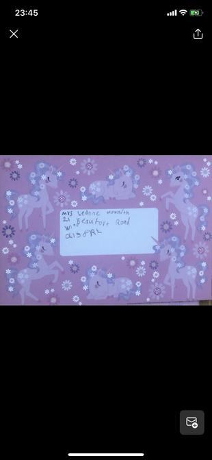 Written her envelope.