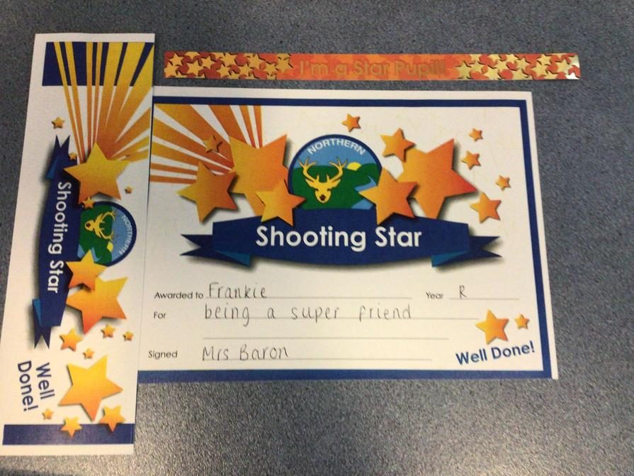 Well done to out Shooting Star this week