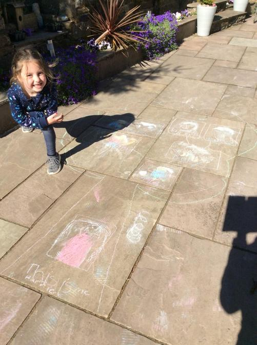 Harriet had a great idea to chalk her family tree!