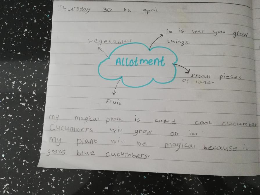 Elsie's super allotment writing.