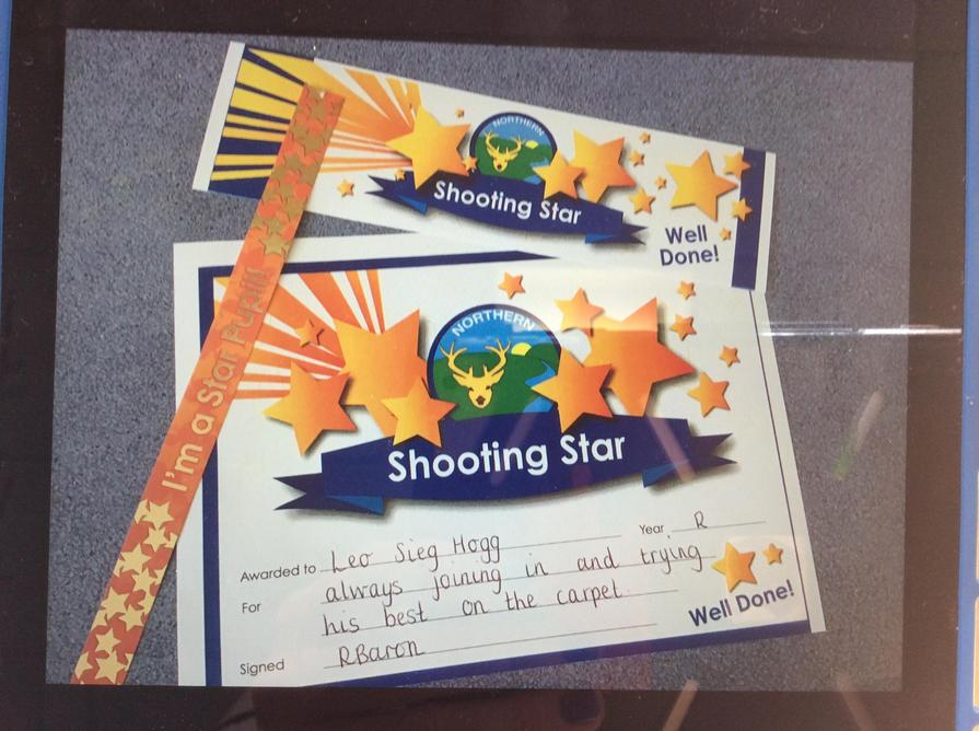 Well done to our Shooting Star this week 1st October 2021