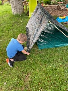 Toby built a den......