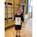 Prize winner for achieving the most points in the Summer Reading Challenge