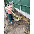 Busy gardening.