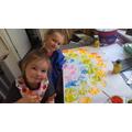 Painting a rainbow!
