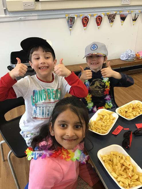 Year 2 seaside experience in school ended with real fish and chips
