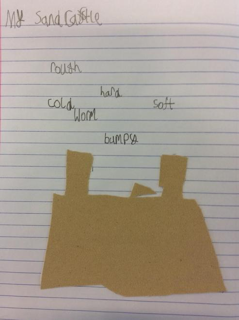 We labelled our sandcastles made with sand paper using describing words