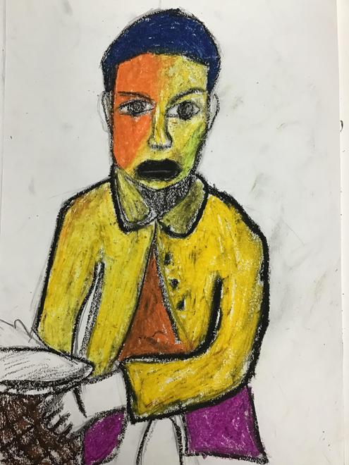 Year 6 replicated one of Yinka's art works.