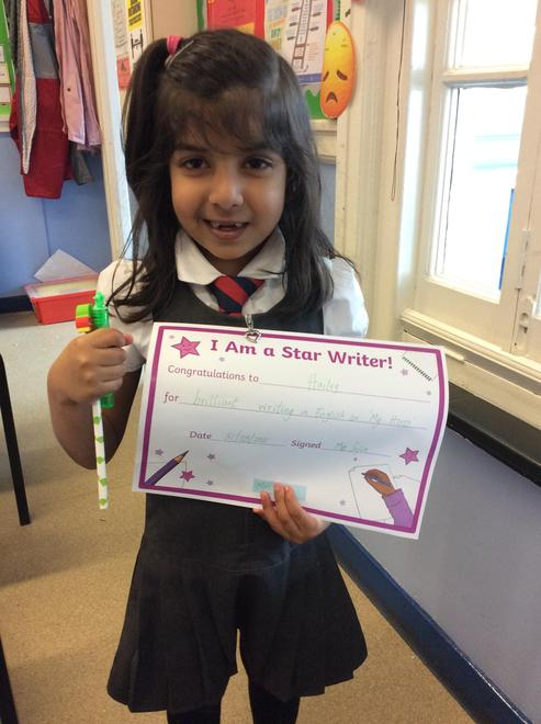 Hailey - Year 1 recipient of the Writing Assembly Award