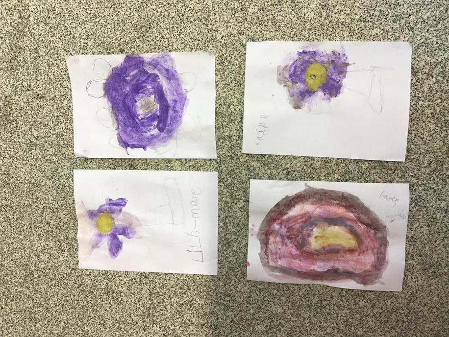 """Mrs Smith taught us how to use a """"water bead"""" to create different shades of colour."""