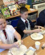 Kneading the bread dough...