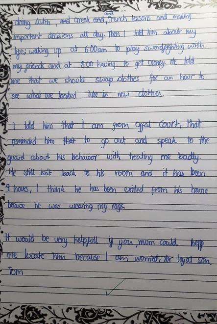 Tom's letter to his mother p3