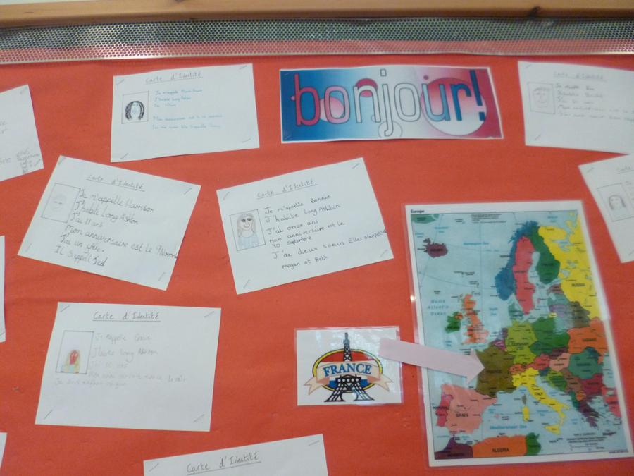 Year 6 display of Identity cards