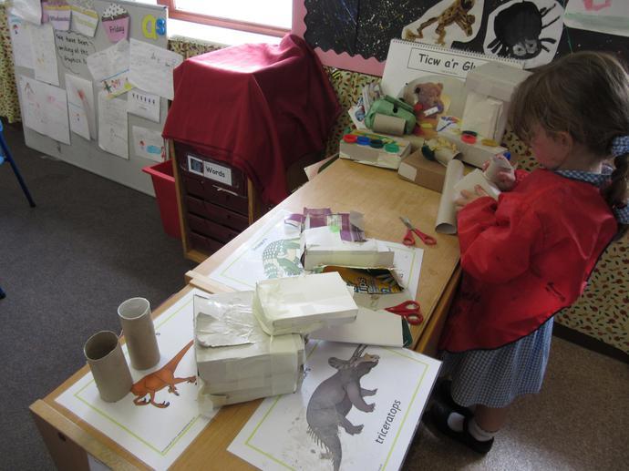 Making model dinosaurs.