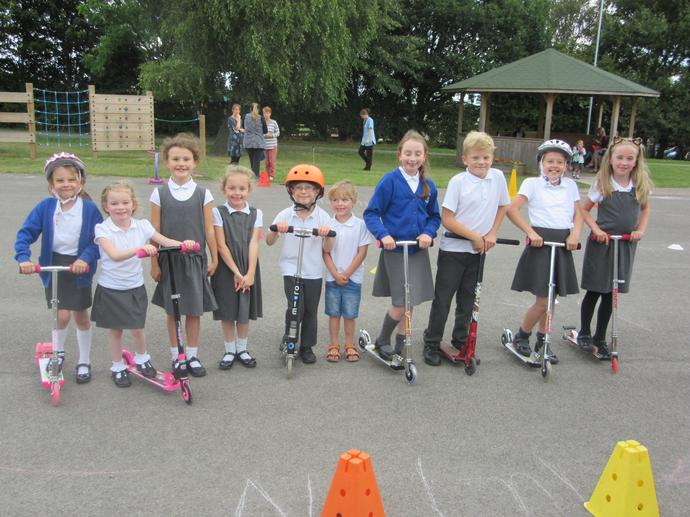Pupils enjoyed using the scooter route which was set up by the school coucil.