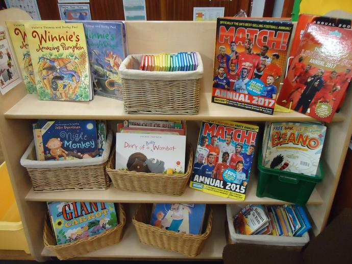 Our book corner has a range of reading materials!