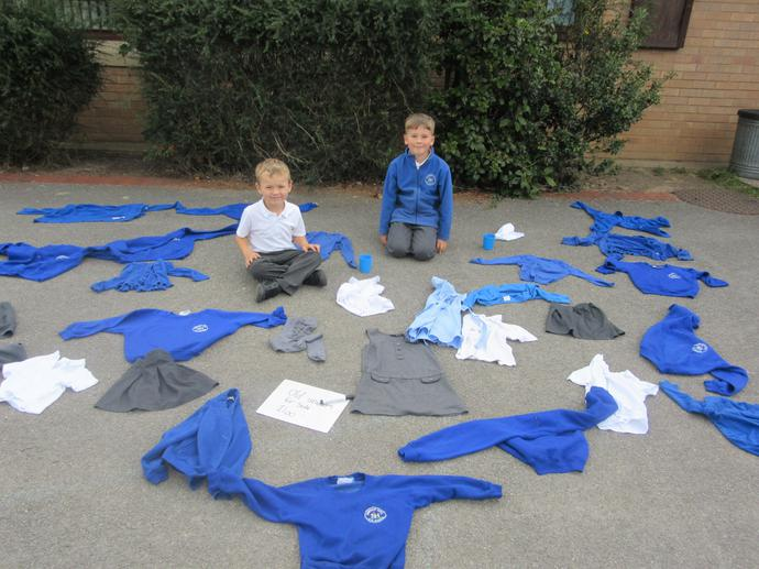 Members of the school council sold old uniform and made a profit of £6.00
